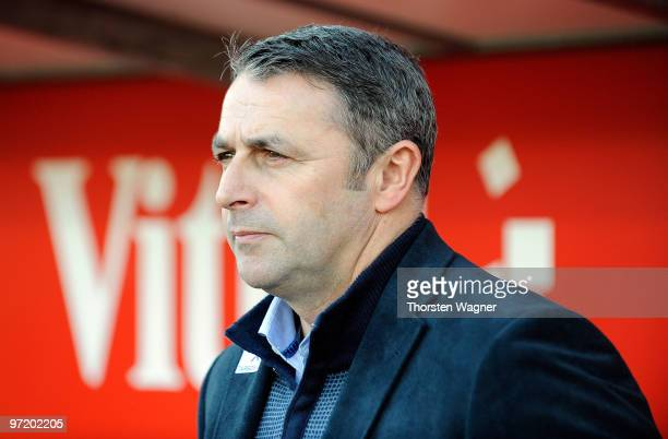 Manager Klaus Allofs of Bremen looks on in prior to the Bundesliga match between FSV mainz 05 and SV Werder Bremen at Bruchweg Stadium on February 27...