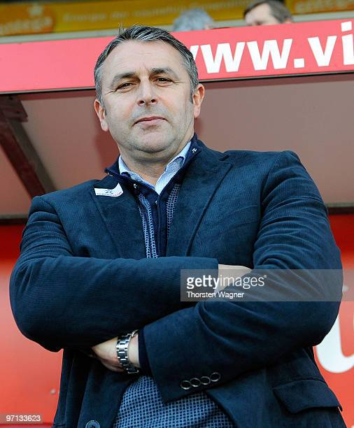 Manager Klaus Allofs of Bremen looks on prior to the Bundesliga match between FSV mainz 05 and SV Werder Bremen at Bruchweg Stadium on February 27...