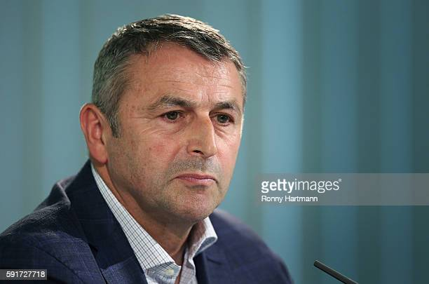 Manager Klaus Allofs of Wolfsburg attends a press conference on August 18 2016 in Wolfsburg Germany
