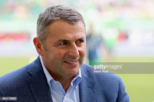 Manager Klaus Allofs of Wolfsburg is seen prior to the Bundesliga match between VfL Wolfsburg and Eintracht Frankfurt at Volkswagen Arena on August...