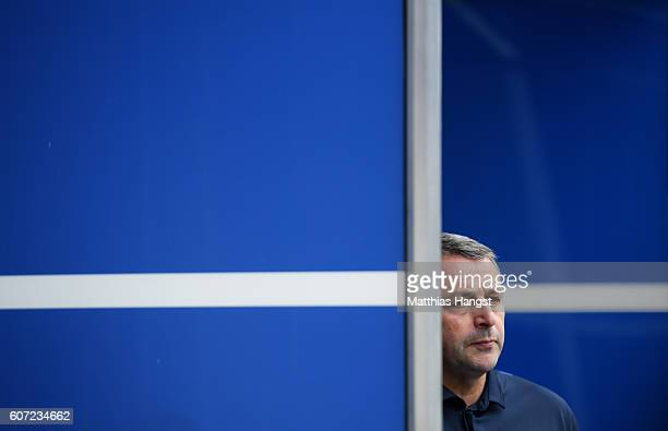 Manager Klaus Allofs of Wolfsburg is seen prior to the Bundesliga match between TSG 1899 Hoffenheim and VfL Wolfsburg at Wirsol RheinNeckarArena on...