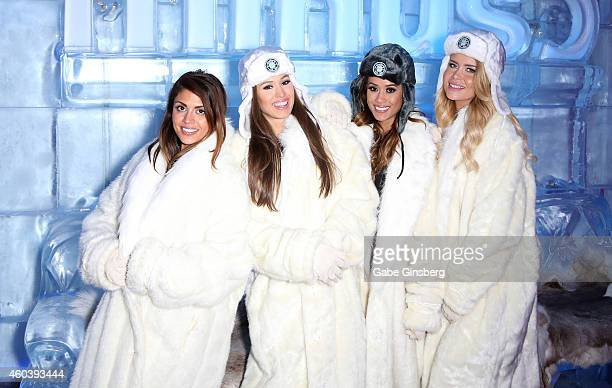 Manager Kristine Stokes and models Rachel McDonough Jen Mateo and Candice Wurster of Top Rank Boxing's Knockout Girls attend the unveiling of the...
