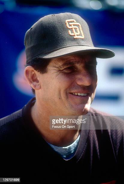 Manager Larry Bowa of the San Diego Padres looks on before the start of an Major League Baseball game circa 1987 at Jack Murphy Stadium in San Diego...