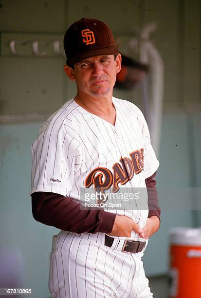 Manager Larry Bowa of the San Diego Padres looks on from the dugout during an Major League Baseball game circa 1987 at Jack Murphy Stadium in San...