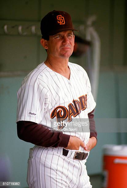 Manager Larry Bowa of the San Diego Padres looks on from the dugout prior to the start of a Major League Baseball game circa 1987 at Jack Murphy...