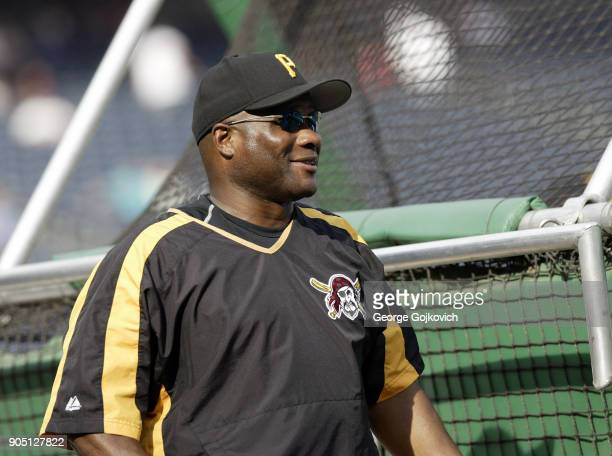 Manager Lloyd McClendon of the Pittsburgh Pirates looks on from the field during batting practice before a game against the Los Angeles Dodgers at...