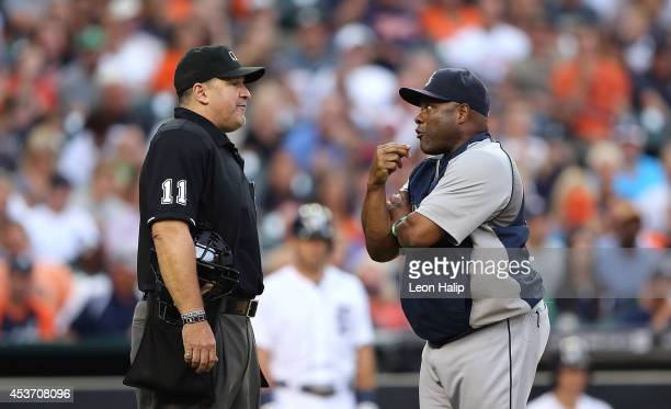 Manager Lloyd McClendon of the Seattle Mariners argues with home plate umpire Tony Randazzo during the second inning of the game against the Detroit...