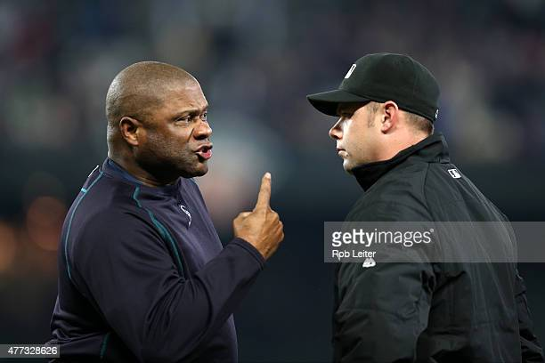Manager Lloyd McClendon of the Seattle Mariners argues with Will Little during the game against the New York Yankees at Safeco Field on June 2 2015...