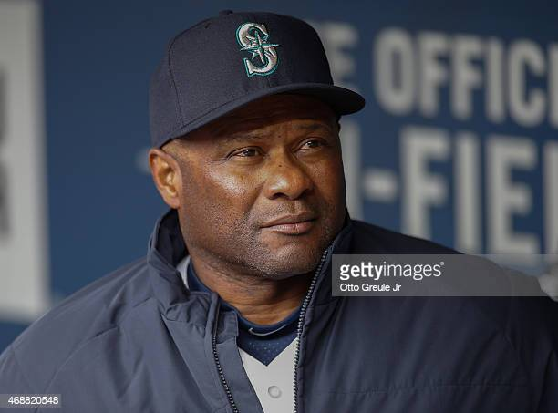 Manager Lloyd McClendon of the Seattle Mariners looks on against the Los Angeles Angels of Anaheim during the home opener at Safeco Field on April 6...