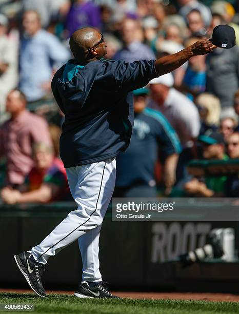 Manager Lloyd McClendon of the Seattle Mariners throws his hat into the stands after being ejected in the seventh inning against the Tampa Bay Rays...