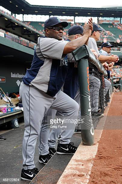 Manager Lloyd McClendon of the Seattle Mariners watches the game in the second inning against the Baltimore Orioles at Oriole Park at Camden Yards on...