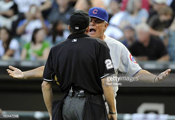 Manager Lou Piniella of the Chicago Cubs argues a call with home plate umpire Bill Hohn during the game against the Chicago White Sox on June 26 2010...