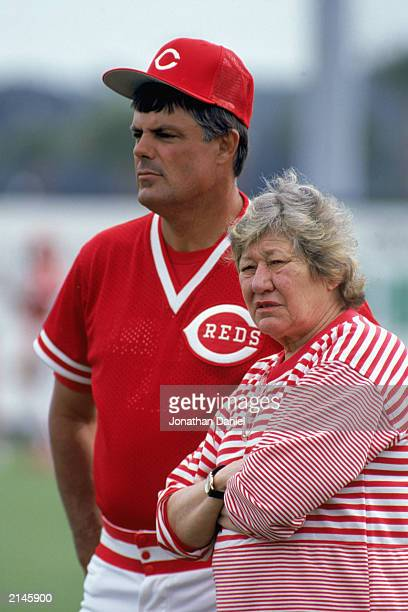 Manager Lou Piniella of the Cincinnati Reds looks on with owner Marge Schott during the 1990 Spring Training