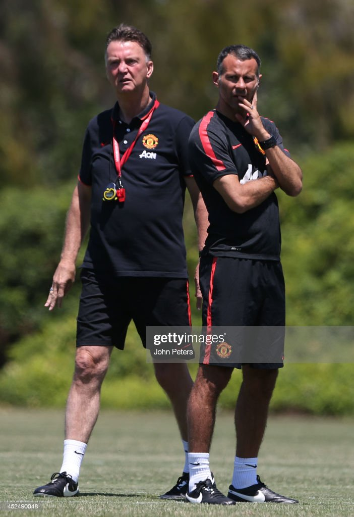 Manager Louis van Gaal and Assistant Manager Ryan Giggs of Manchester United in action during a first team training session as part of their pre-season tour of the United States on July 21, 2014 in Los Angeles, California.