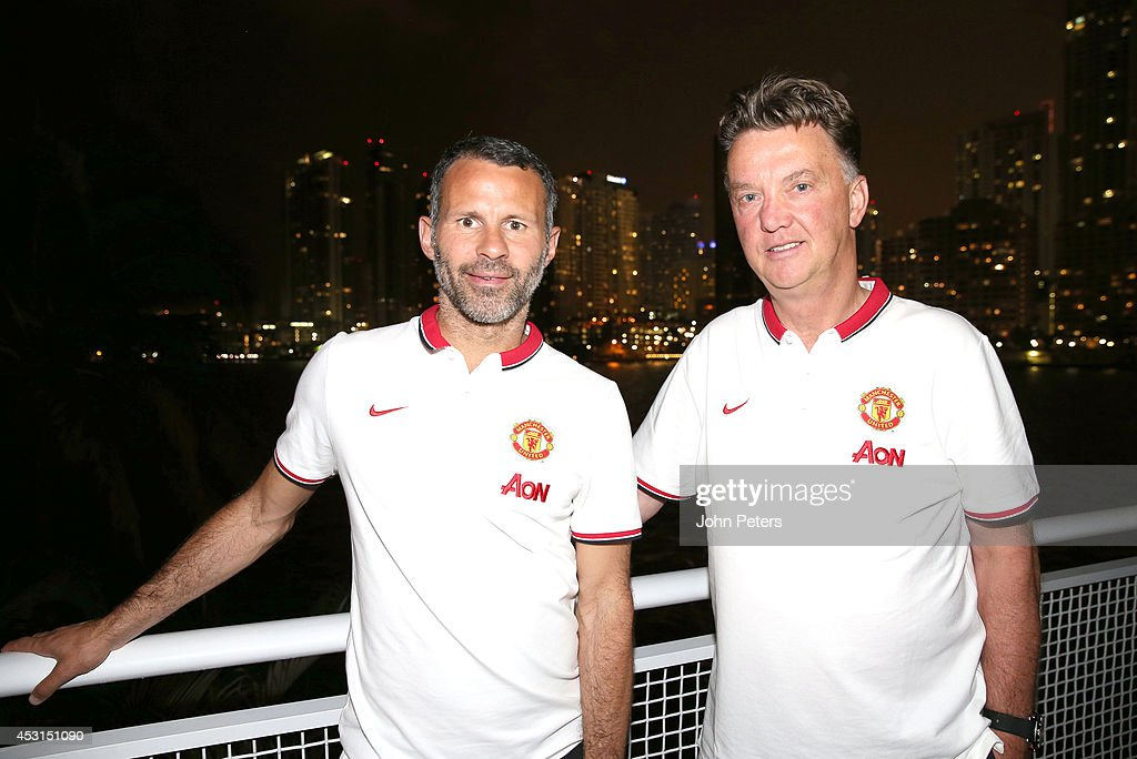 Manager Louis van Gaal (R) and Assistant Manager Ryan Giggs of Manchester United pose in Miami as part of their pre-season tour of the United States at Sunlife Stadium on August 3, 2014 in Miami, Florida.