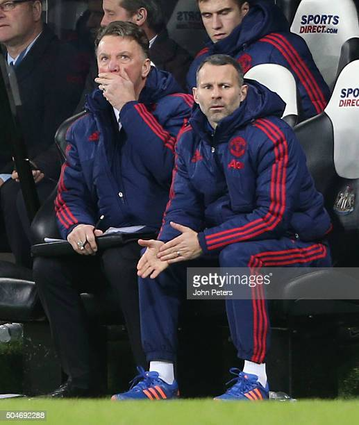 Manager Louis van Gaal and Assistant Manager Ryan Giggs of Manchester United watch from the bench during the Barclays Premier League match between...