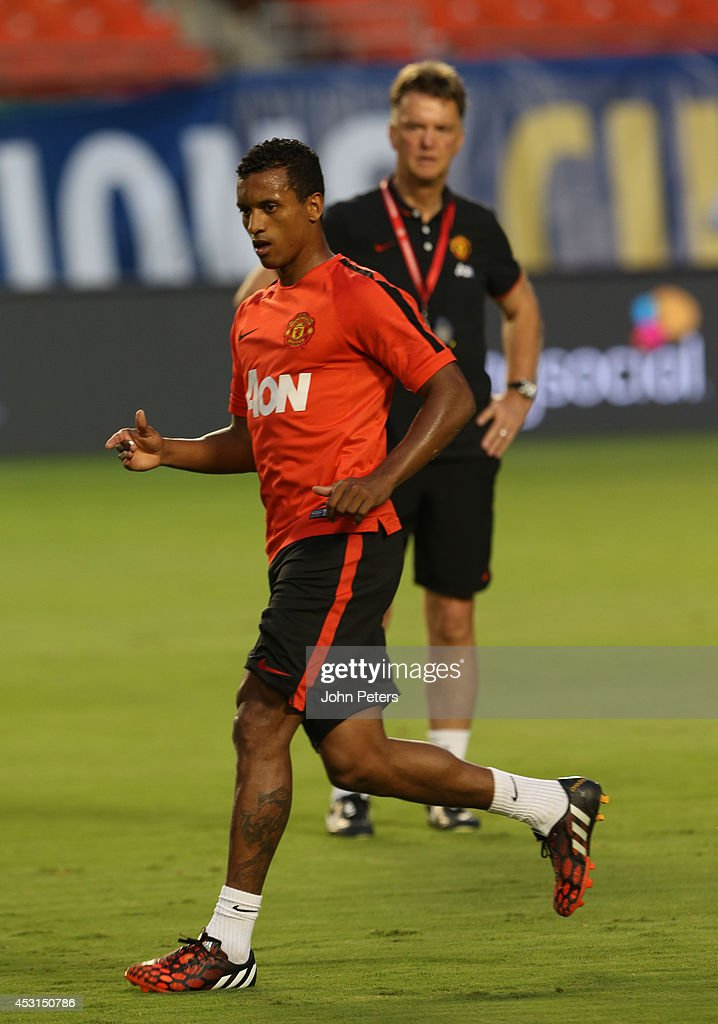 Manager Louis van Gaal and Nani of Manchester United in action during an open training session as part of their pre-season tour of the United States at Sunlife Stadium on August 3, 2014 in Miami, Florida.