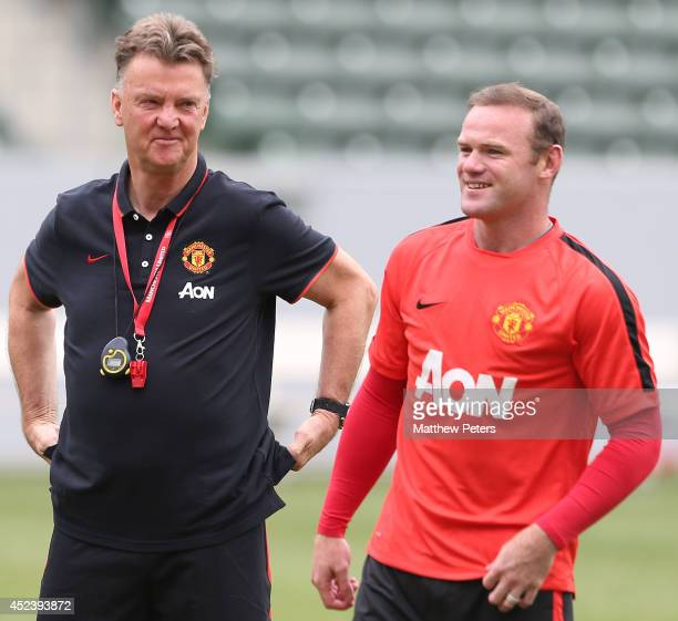 Manager Louis van Gaal and Wayne Rooney of Manchester United in action during a training session as part of their pre-season tour of the United...