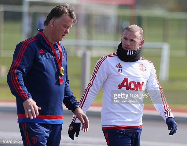 Manager Louis van Gaal and Wayne Rooney of Manchester United in action during a first team training session at Aon Training Complex on April 22 2016...