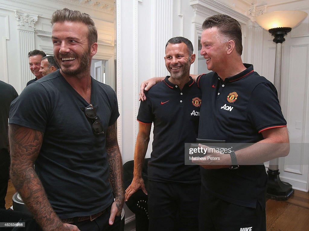 Louis Van Gaal And Ryan Giggs Meet David Beckham : News Photo