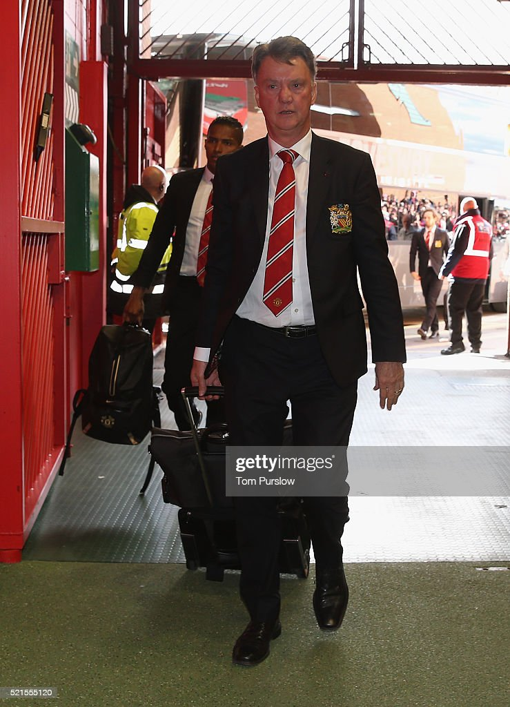 Manager Louis van Gaal of Manchester United arrives ahead of the Barclays Premier League match between Manchester United and Aston Villa at Old Trafford on April 16, 2016 in Manchester, United Kingdom.