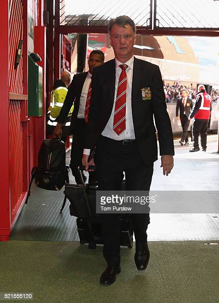 Manager Louis van Gaal of Manchester United arrives ahead of the Barclays Premier League match between Manchester United and Aston Villa at Old...