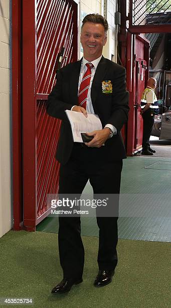 Manager Louis van Gaal of Manchester United arrives ahead of the Pre Season Friendly match between Manchester United and Valencia at Old Trafford on...