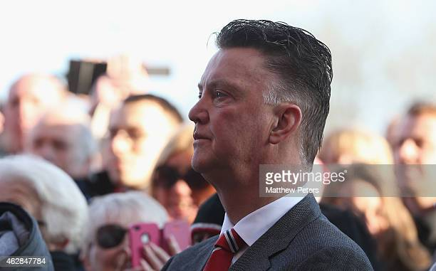 Manager Louis van Gaal of Manchester United attends the Munich Air Disaster memorial to remember the 21 people killed on 6 February 1958 including 8...
