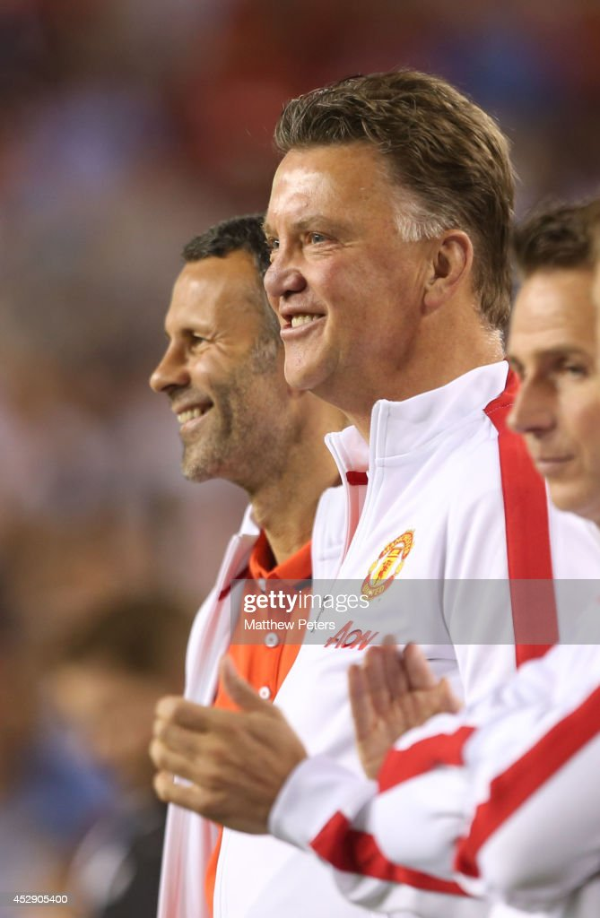 Manager Louis van Gaal of Manchester United celebrates Darren Fletcher scoring the winning penalty during the pre-season friendly between Manchester United and Inter Milan at FedExField on July 29, 2014 in Landover, Maryland.