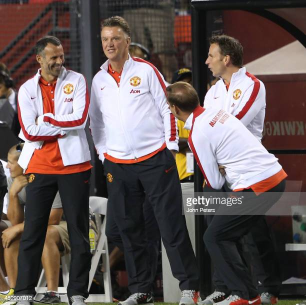 Manager Louis van Gaal of Manchester United celebrates Darren Fletcher scoring the winning penalty during the pre-season friendly between Manchester...