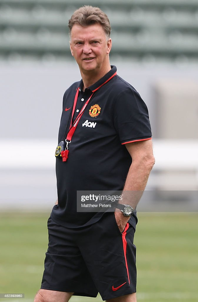 Manager Louis van Gaal of Manchester United in action during a training session as part of their pre-season tour of the United States on July 19, 2014 in Los Angeles, California.