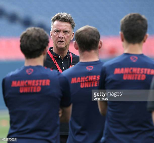 Manager Louis van Gaal of Manchester United in action during a training session as part of their pre-season tour of the United States on July 24,...