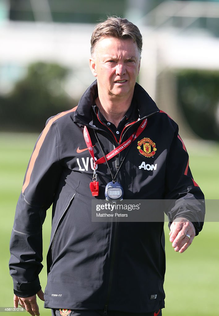 Manager Louis van Gaal of Manchester United in action during a first team training session at Aon Training Complex on September 26, 2014 in Manchester, England.