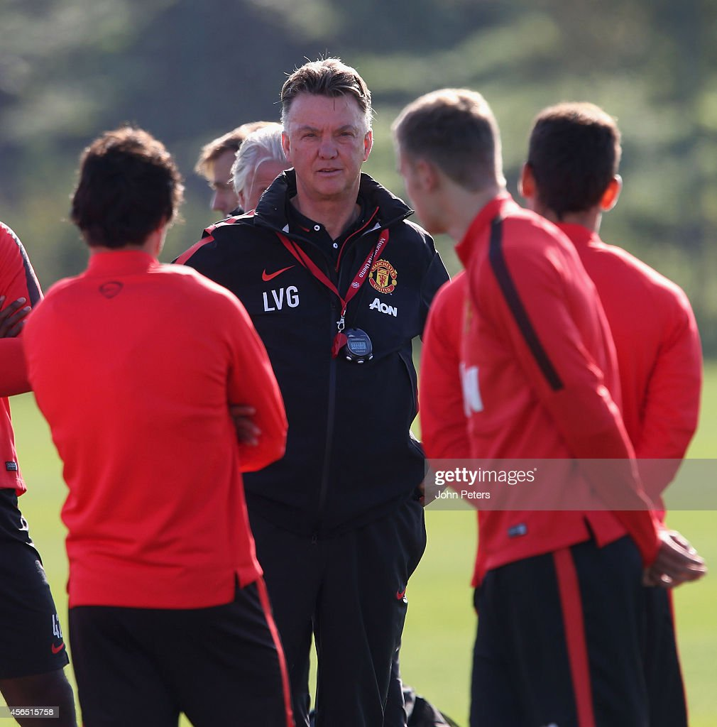 Manager Louis van Gaal of Manchester United in action during a first team training session at Aon Training Complex on October 2, 2014 in Manchester, England.