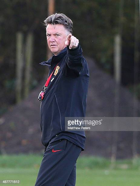Manager Louis van Gaal of Manchester United in action during a first team training session at Aon Training Complex on October 24, 2014 in Manchester,...