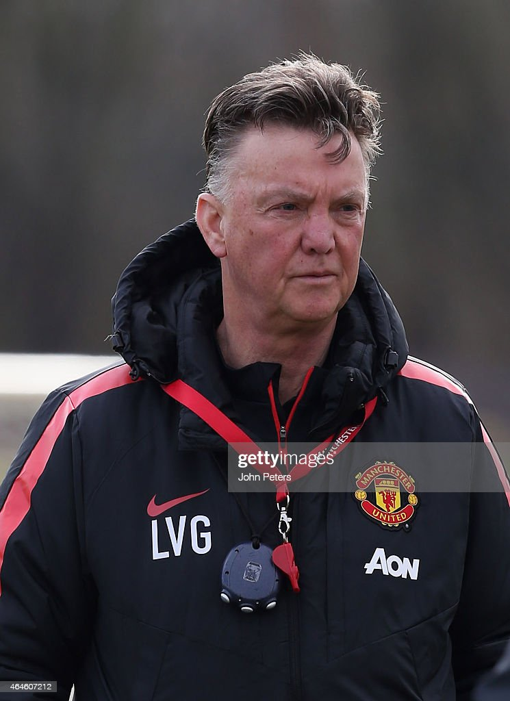 Manager Louis van Gaal of Manchester United in action during a first team training session at Aon Training Complex on February 27, 2015 in Manchester, England.