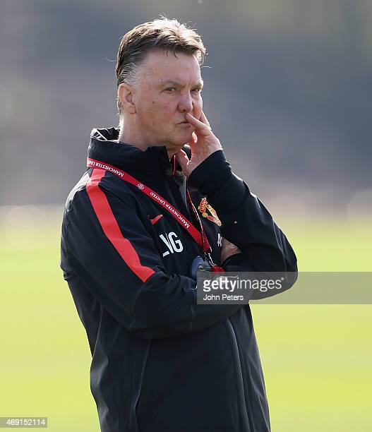 Manager Louis van Gaal of Manchester United in action during a first team training session at Aon Training Complex on April 10 2015 in Manchester...