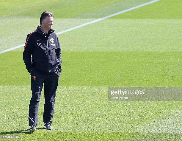 Manager Louis van Gaal of Manchester United in action during a first team training session at Aon Training Complex on April 24, 2015 in Manchester,...