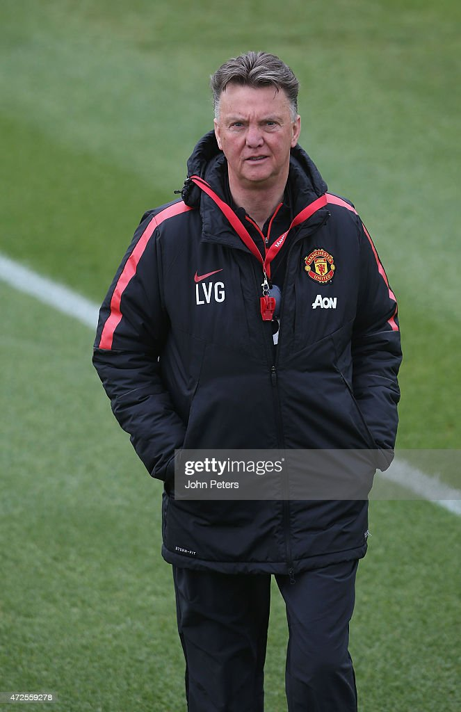 Manager Louis van Gaal of Manchester United in action during a first team training session at Aon Training Complex on May 8, 2015 in Manchester, England.