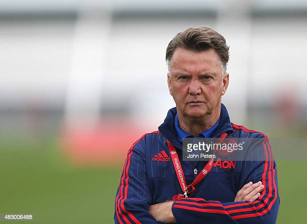 Manager Louis van Gaal of Manchester United in action during a first team training session at Aon Training Complex on August 5, 2015 in Manchester,...