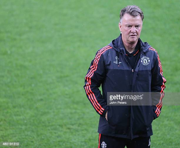 Manager Louis van Gaal of Manchester United in action during a first team training session ahead of their UEFA Champions League playoff second leg...