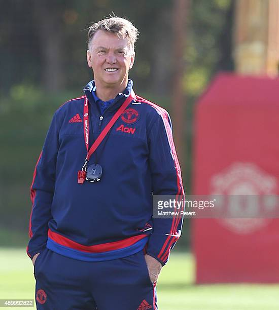 Manager Louis van Gaal of Manchester United in action during a first team training session at Aon Training Complex on September 25, 2015 in...