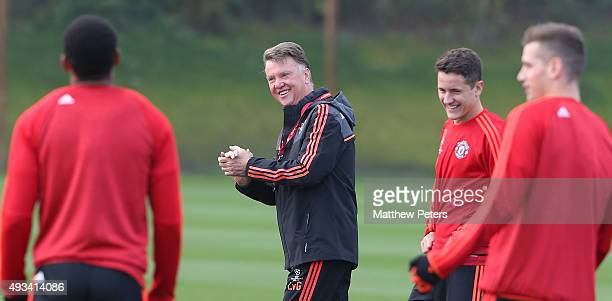 Manager Louis van Gaal of Manchester United in action during a first team training session, ahead of their UEFA Champions League Group B match...