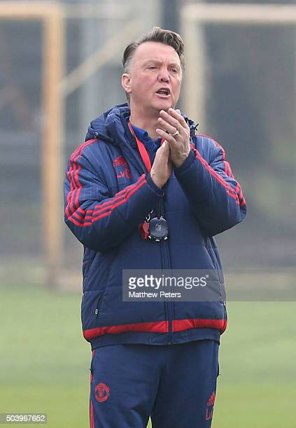Manager Louis van Gaal of Manchester United in action during a first team training session at Aon Training Complex on January 7 2016 in Manchester...