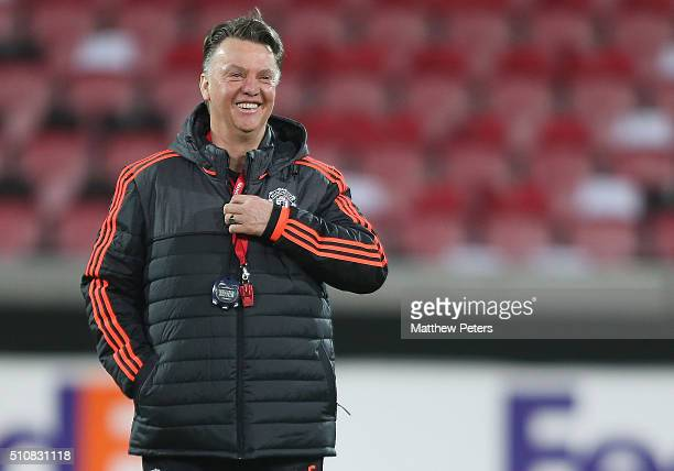 Manager Louis van Gaal of Manchester United in action during a first team training session ahead of their UEFA Europa League match against FC...