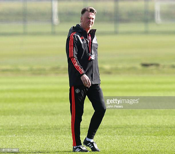 Manager Louis van Gaal of Manchester United in action during a first team training session at Aon Training Complex on February 24 2016 in Manchester...