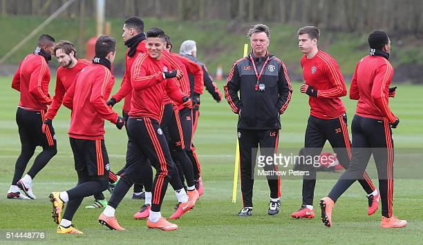 Manager Louis van Gaal of Manchester United in action during a first team training session ahead of their UEFA Europa League round of 16 match...