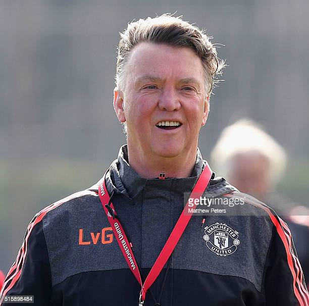 Manager Louis van Gaal of Manchester United in action during a first team training session ahead of their UEFA Europa League Round of 16 Second Leg...