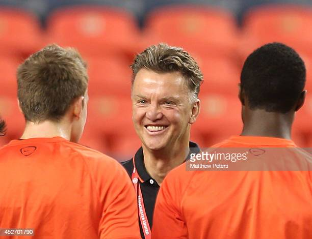 Manager Louis van Gaal of Manchester United in action during an open training session as part of their preseason tour of the United States at Sports...