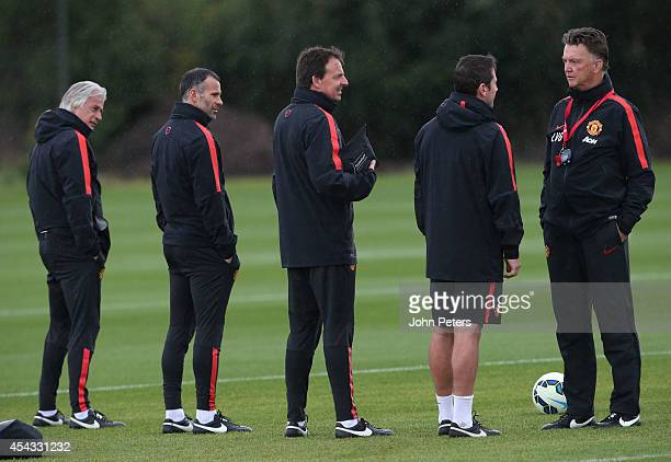 Manager Louis van Gaal of Manchester United in action with Opposition scout Marcel Bout, Assistant Manager Ryan Giggs, Dr Steve McNally and Head of...
